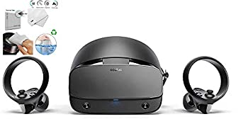 Oculus - Rift S PC-Powered VR Gaming Headset - Two Touch Controller 3D Positional Audio Insight Tracking Adjustable Halo Headband Bundle with TWE Cleaning Cloth