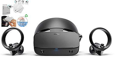 Oculus - Rift S PC-Powered VR Gaming Headset - Two Touch Controller, 3D Positional Audio, Insight Tracking, Adjustable Halo Headband Bundle with TWE Cleaning Cloth