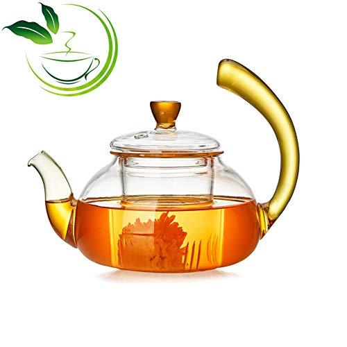 MAI&BAO Tetera Cristal con Filtro y Tapa 600ML jazmín Verde Té Negro Café Leche,Sala Estar,Amantes del té La Cocina de inducción se Puede Calentar,Yellow