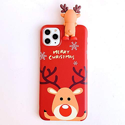 Topwin Christmas Case for iPhone 11 Pro Max, Merry Christmas Soft Silicone TPU 3D Cute Snowman Santa/Elk Pattern Pretty Cute Premium Flexible Protective Case for Apple iPhone 11 Pro Max 6.5'' (Red)