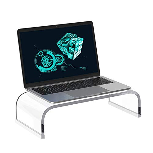 """Acrylic Clear Game Computer Laptop Monitor Stand Riser 15"""" Multi-Functional Desktop Space Saving Stand Organizer Compatible with MacBook 13inch 14inch Laptops TVs and Other Electronics"""