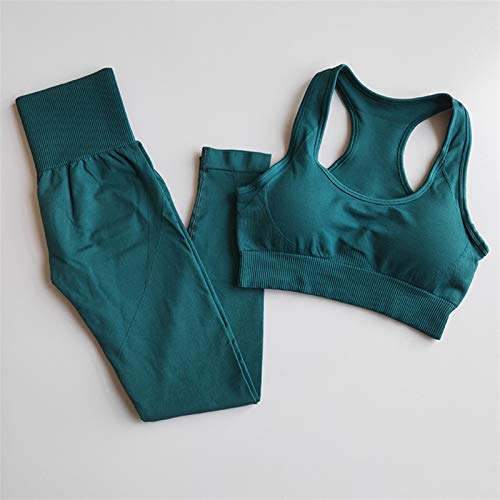 Pantalones de Yoga Ropa de Entrenamiento de Yoga sin Fisuras Ropa para Mujer Deporte Leggings + Sports Bras 2 Pieza Gimnasios Conjuntos de gimnasios High Fitness Sports Trajes Polainas