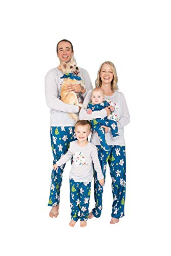 Nite Nite Munki Munki Family Matching Winter Holiday Pajama Collection, Polar Bears, Blue, Kids, X-Large