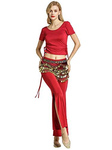 Zengbang Damen Hosen Bauchtanz Kostüm Halloween Bauchtanz Crop Top Training Tanzkleidung (Wein Rot#1(3PCS), Asien L)