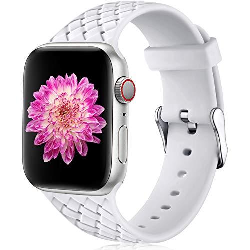 Oielai Cinturino Compatibile con Apple Watch 42mm 44mm, Impermeabile Morbido Silicone Tessere Sostituzione Sportiva Cinturino per Iwatch Serie 5 4 3 2 1, 42mm/44mm S/M Bianca