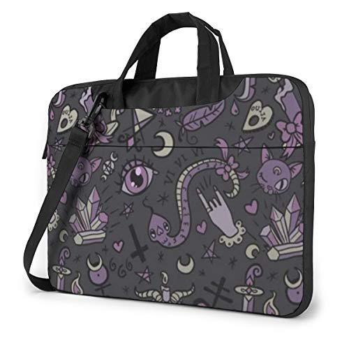 Purple Black Goth Spooky Printed Laptop Shoulder Bag,Laptop case Handbag Business Messenger Bag Briefcase