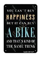 あなたは幸せを買うことはできませんが、自転車金属ビンテージスズの壁の装飾12 x 8インチを購入することができますインチ