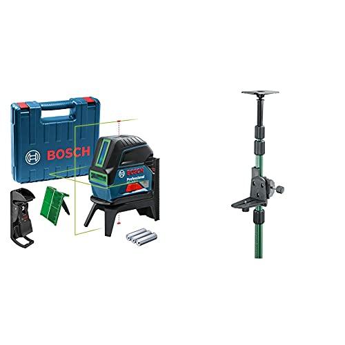 Bosch Professional Livella laser multifunzione GCL 2-15 G laser verde, da interno, punti a piombo, 15 m & Home and Garden 0603693100 Asta Telescopia