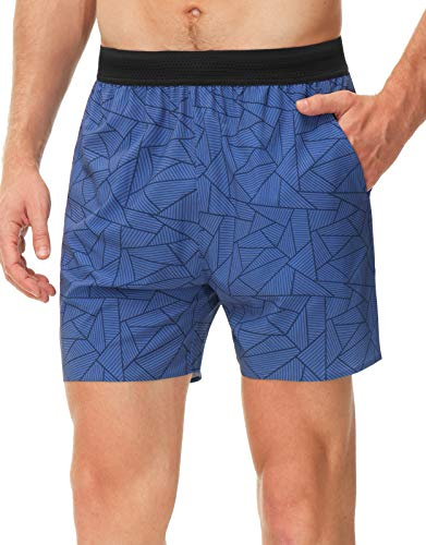 Libin Men's 5 Inch Running Shorts Athletic Quick Dry with Liner for Workout Gym Performance Shorts Back Zip Pocket, Blue S
