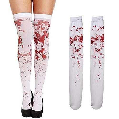 Lifreer - Medias de sangre manchadas para mujer, medias de sangre, calcetines sangrientos, medias de Halloween para disfraz de Halloween, 2 pares
