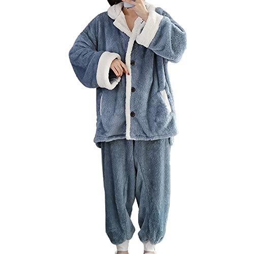 Damen Flanell Pyjama Set Revers Plus Kaschmir Verdicken Lose Heimanzug