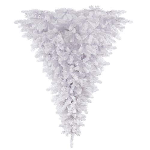 Vickerman 6' White Upside Down Artificial Christmas Tree, Unlit - Faux Upside Down Christmas Tree - Seasonal Indoor Home Decor