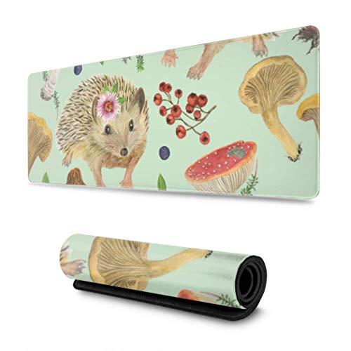 Encantadores Animales pequeños, erizos y Setas, Alfombrillas de ratón para Juegos de 31,5 x 11,8 Pulgadas de Ancho, Alfombrilla de ratón Larga para Juegos, Grande para Ordenador/portátil