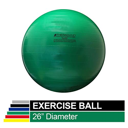 TheraBand Exercise Ball, Stability Ball with 65 cm Diameter for Athletes 5'7' to 6'1' Tall, Standard Fitness Ball for Posture, Balance, Yoga, Pilates, Core, Rehab, Green