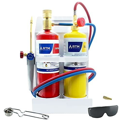 RTMMFG Oxygen MAPP Torch Kit Portable Cylinder Metal Stand, for Soldering and Brazing, Sparker, Protection glass, Extra nozzle(Gas Cylinders Not Included)