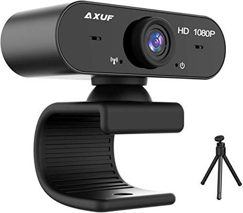 AXUF 1080P HD Webcam può Essere piegata in Base allo Spessore del Computer, Copertura per la Privacy con videocamera per Microfono, treppiede, Laptop, Computer, videocamera Plug And Play Desktop