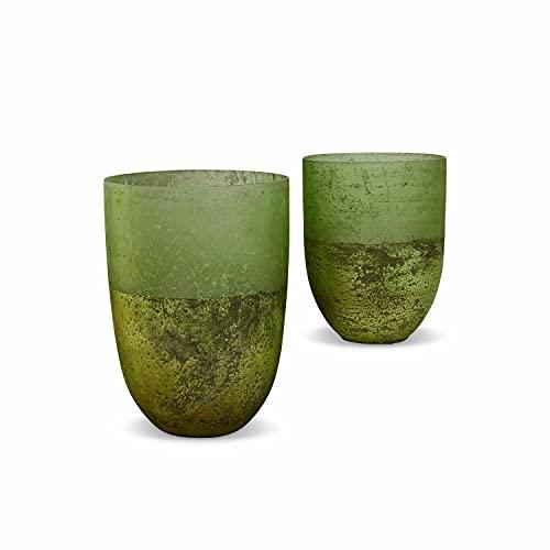 Loberon Windlicht 2er Set Bessens, Glas, grün