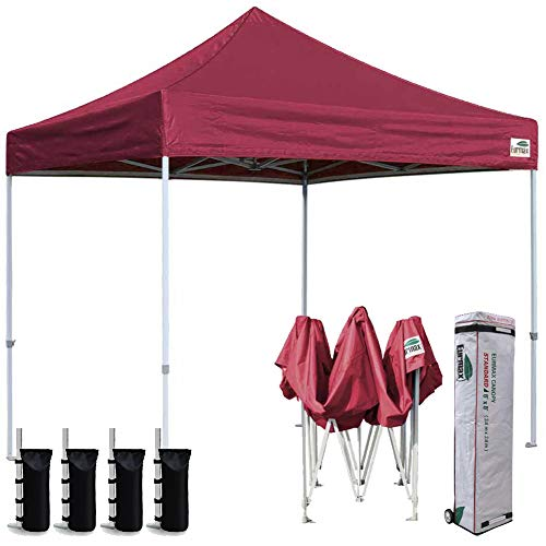Eurmax 8x8 Feet Ez Pop up Canopy, Outdoor Canopies Instant Party Tent, Sport Gazebo with Roller Bag,Bonus 4 Canopy Sand Bags (Burgundy)