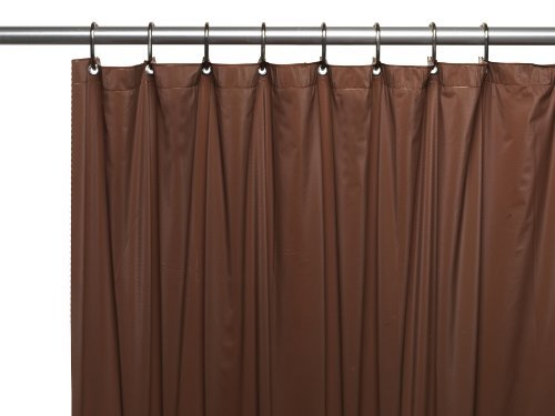 Carnation Home Fashions 3-Gauge Vinyl Shower Curtain Liner with Metal Grommets, Brown