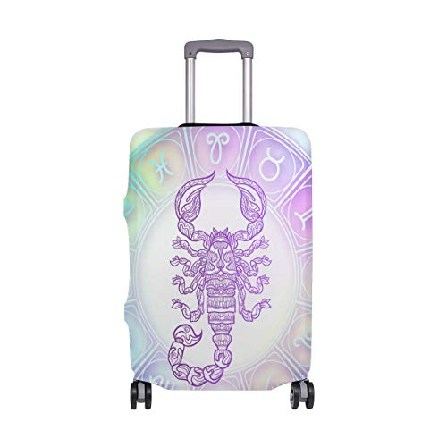 Moyyo Holographic Scorpio Zodiac Sign Luggage Cover Suitcase Protector Cover Travel Luggage Cover Elastic Suitcase Cover Washable Luggage Cover Fits 26-28 inch Luggage