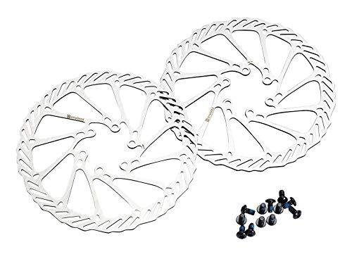 Dymoece 2 Stück Fahrrad Bremsscheibe 6 Loch mit 12 Schrauben Kompatibel mit Shimano Tektro Avid Magura Hayes 160mm/180mm