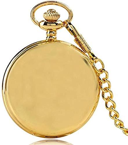 Ahuyongqing Co.,ltd Smooth Golden Steampunk Quartz Pocket Watch Necklace Men Women Watches Pendant with Chain Watch Gift Reloj De Bolsillo