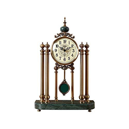 ZCZZ Reloj de Escritorio, Reloj de Escritorio Grande y silencioso/Reloj de Chimenea, Reloj de Escritorio Adecuado para Sala de Estar, Dormitorio, Sala de Estudio (Color: Verde)