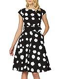 Marca Amazon - TRUTH & FABLE Vestido Midi Evasé de Algodón Mujer, Multicolor (Teal Floral), 38, Label: S