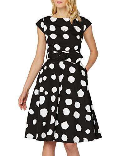 Marca Amazon - TRUTH & FABLE Vestido Midi Evasé de Algodón Mujer, Multicolor (Teal Floral), 40, Label: M