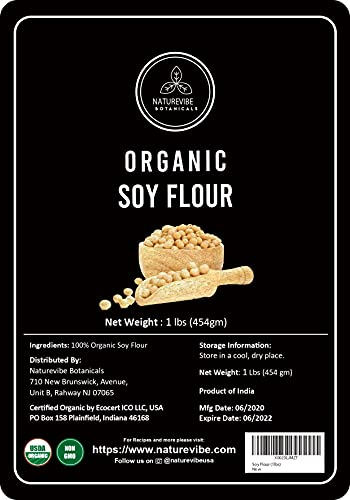 Naturevibe Botanicals Organic Soy Flour, 1lb | Non-GMO and Gluten Free | Source of Protein and Iron