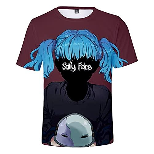YJXDBABY-Sally Face-T-Shirt A Maniche Corte per Ragazzi, Maglietta Estiva Divertente E Fresca, Abbigliamento per Bambini, Casual E Traspirante-130