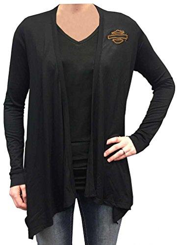 Harley-Davidson Women's Vintage Tribal Bar & Shield Long Sleeve Cardigan (S/M) Black