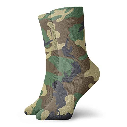 yting Patrón de camuflaje verde militar Calcetines cortos transpirables Calcetines clásicos de algodón de 30 cm para hombres Mujeres Yoga Senderismo Ciclismo