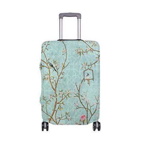 ALINLO - Funda para maleta de viaje con diseño de flores y anillos para pájaros (18-32 pulgadas)