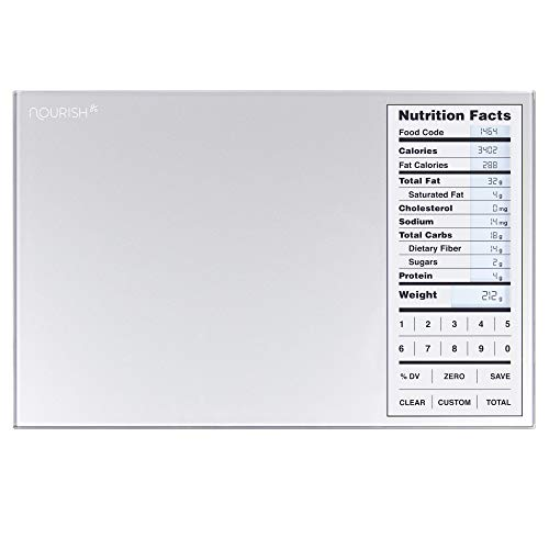 Nourish Digital Kitchen Food Scale + Perfect Portions Nutritional Facts Display, by Greater Goods by Greater Goods