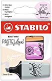 Textmarker 21734 - STABILO BOSS MINI Pastellove 2.0-3er Pack - Seidengrau, frische Fuchsie, sanftes...