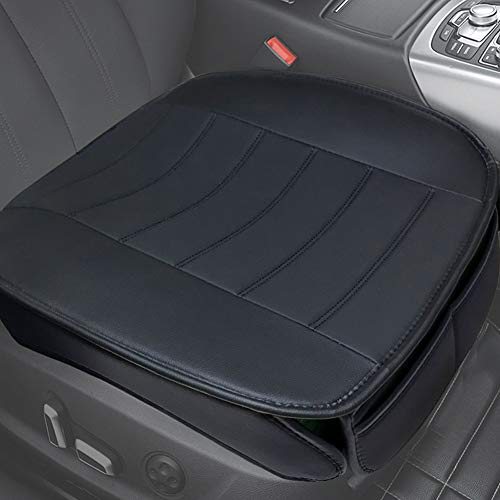 Car Seat Covers, Edge Wrapping Car Front Seat Covers Pad Mat for Auto Supplies Office Chair with PU Leather (Black,2PCS)