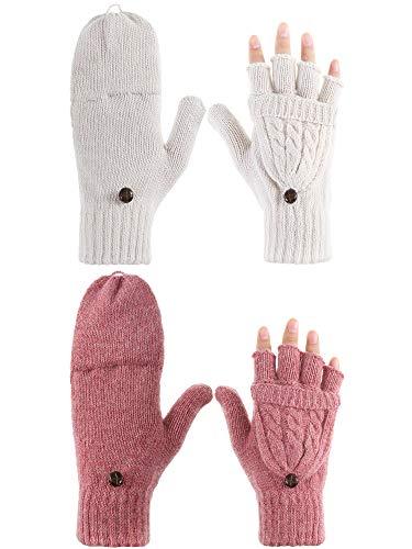 2 Pares de Guantes sin Dedos de Mujeres Manoplas Convertibles de Invierno Guantes de Punto de Mitad de Dedos co Tapa (Rosa Oscuro y Marfil Blanco)