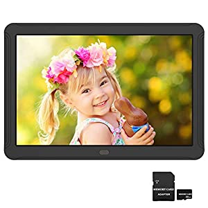 Atatat 8 inch Digital Photo Frame with 32GB SD Card, Digital Picture Frame with 19201080 Resolution, IPS Screen, 1080P Video, Music, Photo, Auto Rotate, Slide Show, Remote Control, Calendar, Time