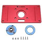 Placa de aluminio para fresadora de mesa, router, fresadora, accesorio para cortadora de mesa con 2 anillos de aluminio y tornillos para montaje de madera (distancia entre orificios: 70 x 62 mm, rojo)