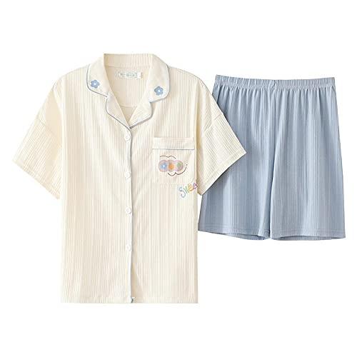 KKLLHSH Conjunto de Pijamas de Verano para Mujer, Ropa de Dormir de Ocio de Talla Grande, Pantalones Cortos de Manga Corta, camisón con Cuello Vuelto, Ropa de casa-E_XL
