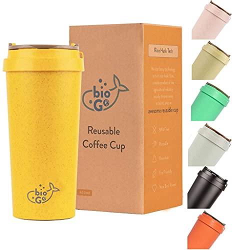 bioGo Cup | Rice Husk Fibre | BPA-Free, Double Wall Insulation Reusable...