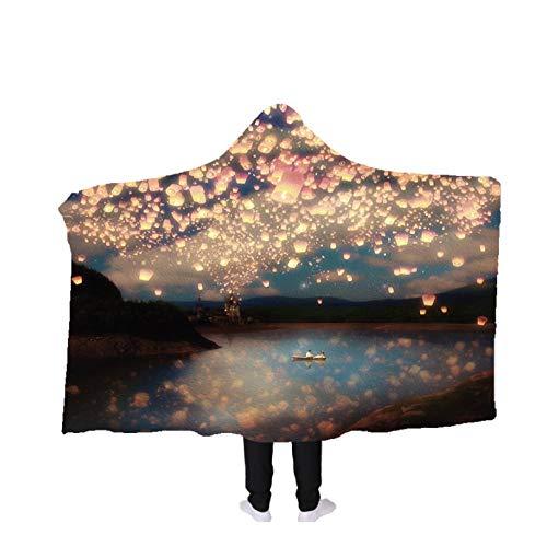 PANDAWDD deken knuffeldeken woondeken zee romantiek vliegen lantaarn Tv-deken met capuchon voor volwassenen mannen 3D grappig draagbare deken fleece deken 150 x 200 cm