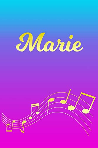 Marie: Sheet Music Note Manuscript Notebook Paper – Pink Blue Gold Personalized Letter M Initial Custom First Name Cover – Musician Composer … Notepad Notation Guide – Compose Write Songs