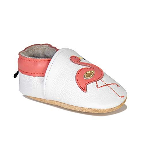 HMIYA Weiche Leder Krabbelschuhe Babyschuhe Lauflernschuhe mit Wildledersohlen für Jungen und Mädchen(12-18 Monate,Weiß)