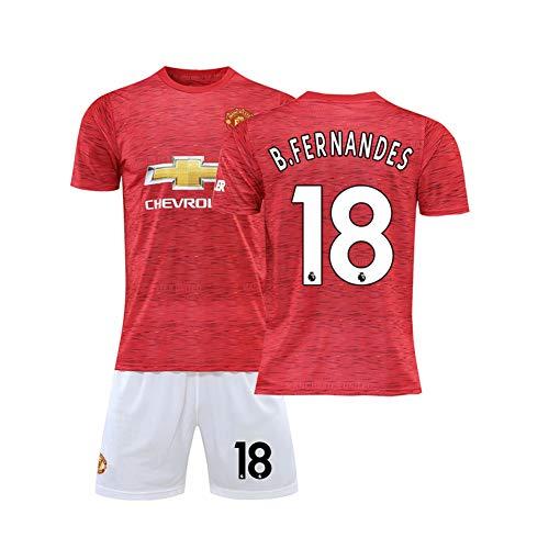LCHENX-Herren Jungen Bruno Fernandes # 18 Fan Fußball Trikot Set T-Shirts und Shorts des Manchester United Football Club,Rot,S