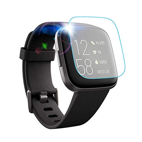 Shan-S Tempered Glass Screen Protector for Fitbit Versa 2,[9H Hardness] [Anti-Fingerprint] [Bubble Free] Clear Film Tempered Glass Screen Protector for Fitbit Versa 2 Smartwatch