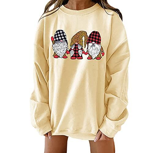 NHNKB Sudadera para mujer, Navidad, sin capucha, manga larga, otoño, invierno, jersey de punto fino, suelto, diseño de enano de Navidad, amarillo, XL