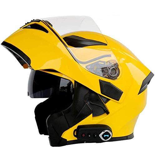 LAMZH Cascos de motocicleta con Bluetooth de cara completa, con doble visera, sistema integrado de comunicación de intercomunicación, cascos de motocross para adultos, protección