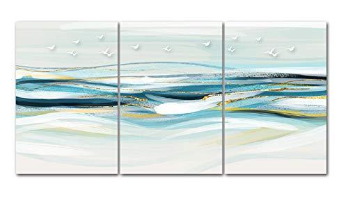 SJYYR Tríptico Lienzo De Arte De Pared 3 Piezas Aves Marinas Azules Abstractas Tríptico Cuadro Creativo Dormitorio Restaurante Pintura Al Óleo Decoración del Hogar Pintura-C1